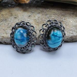 Vtg Glazed Pottery Earrings Clip On Earrings Blue